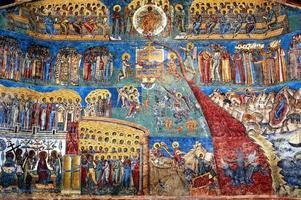 """the judgment day"" fresco Voronet monastery, Romania photo"