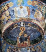 Frescos en el monasterio de Mirozhsky, Pskov, Rusia