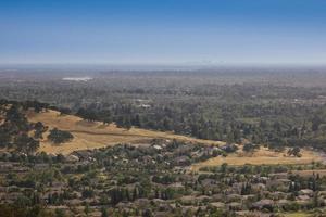 View of suburb neighborhood and city skyline