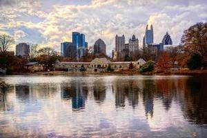 View of Atlanta's skyline reflected over a lake