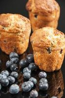 Blueberry cakes and blueberries photo
