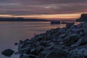 puesta de sol en danubio foto