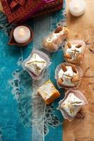 Indian Sweets spread over a traditional printed cloth