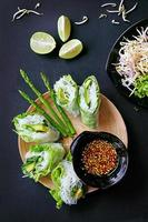 Avocado and asparagus spring roll