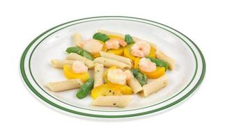 Cooked shrimp with zucchini and asparagus photo