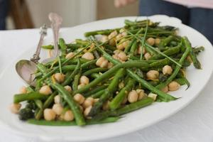 Plate of chickpeas and green beans photo