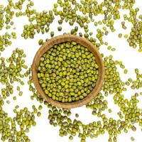 mung beans in and out bowl isolated on white background