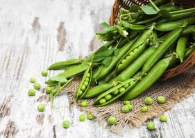 Basket with fresh peas