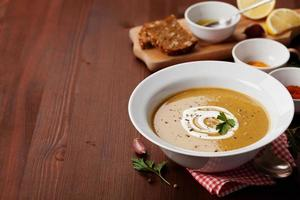 Lentil cream soup with copy space for your text photo