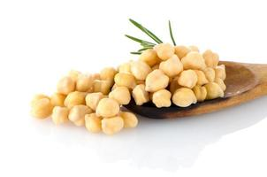 Chickpeas over wooden spoon photo