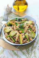 Wholegrain pasta with green beans, zucchini and Brussels sprouts