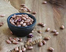 bowl with raw beans in a rustic style