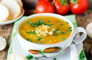 Lentil soup and mushrooms