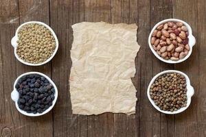 Variety or legumes and paper