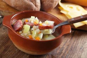 Barley soup with sausage
