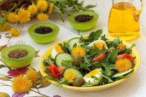 Healthy dandelion salad