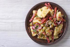 potato salad with salami top view horizontal