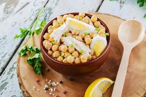 chickpeas with boiled egg and chicken