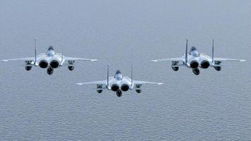 tres aviones de combate foto