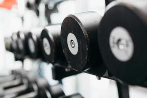 Closeup of dumbbells