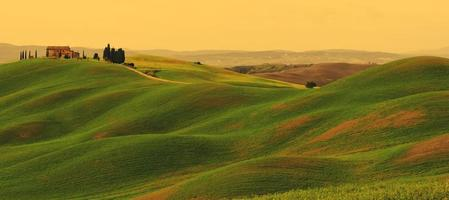 Sunset on Tuscany landscape