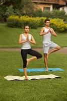 Yoga Exercise. Young couple meditating  in fitness club photo
