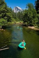 Yosemite valley with a group of kayakers