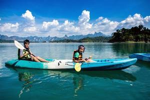 gens, canoë-kayak, scénique, Lac, Été, Thaïlande