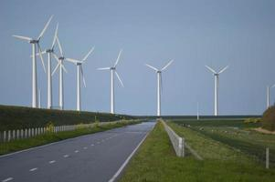 Wind turbines in a row photo