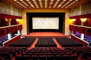 A picture of an empty cinema with a blank screen