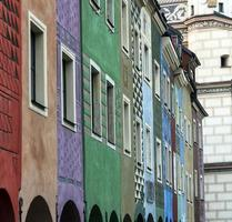 Row of colorful old houses in Poznan