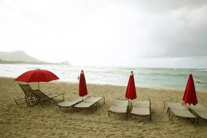 Deck chairs in Waikiki Beach