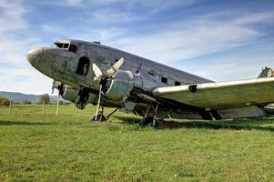 Old abandoned Douglas DC-3 airplane photo