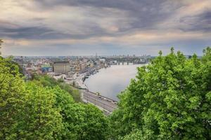 evening sky on the dneeper river in kiev city