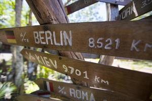 setas de sinal de madeira de destino, venezuela