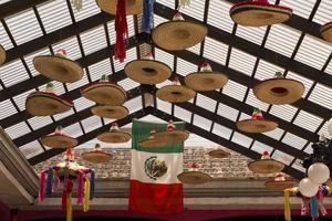 sombreros mexicanos colgando de un techo de cristal