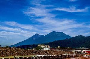 Fuego and Acatenango volcanoes in La Antigua Guatemala photo