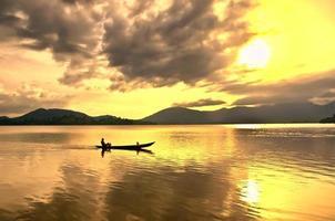 pêcheur, sur, lac, lac, daklak, buon, ma, thuoc, vietnam