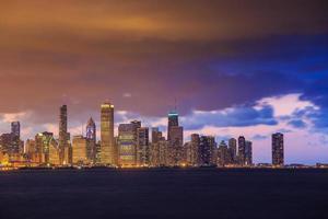 Horizonte de Chicago al atardecer
