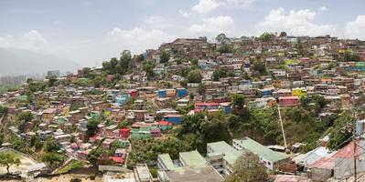 Slum district of Caracas with small wooden colored houses