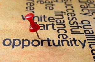 Push pin on opportunity text photo