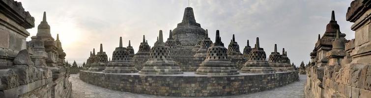 Panorama of Borobudur Temple on Java island