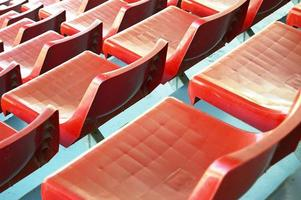 Red football seats perspective