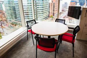 Business meeting table in a modern building.