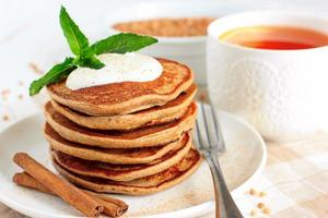 Buckwheat pancakes with banana photo