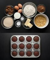 cocoa banana muffins + ingredients photo