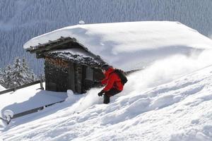 Skiing backcountry blockhouse