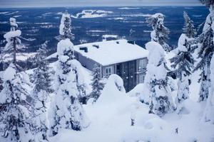 Beautiful vibrant sunny scandinavian winter landscape of skiing resort