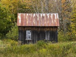 Old Wooden Shack with Two Window Openings