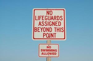 NO LIFEGUARDS sign